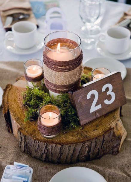 Rustic Wedding Ideas Burlap Wrapped Candles With Moss Centerpieces