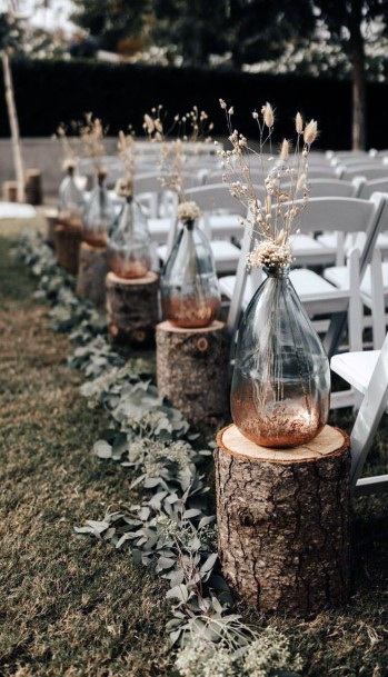 Rustic Wedding Ideas Ceremony Aisle Decor Wooden Logs With Vases