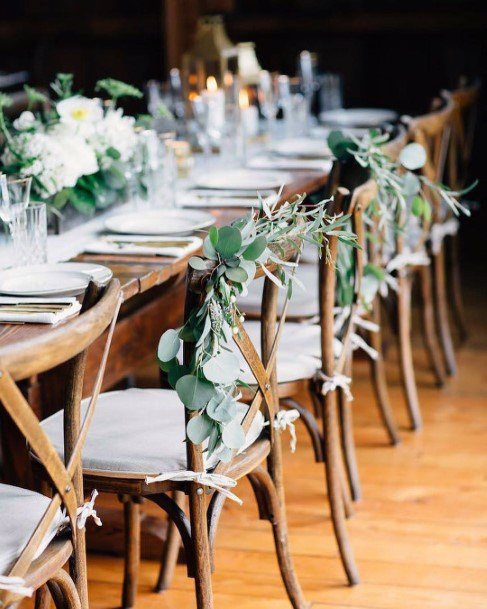 Rustic Wedding Ideas Eucalyptus Or Silver Dollar Greenery Chair Decor