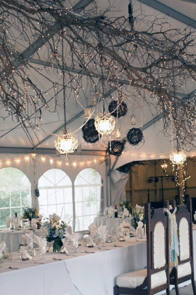 Rustic Wedding Ideas Fairy Lights And Tree Branch Hanging Reception Decorations