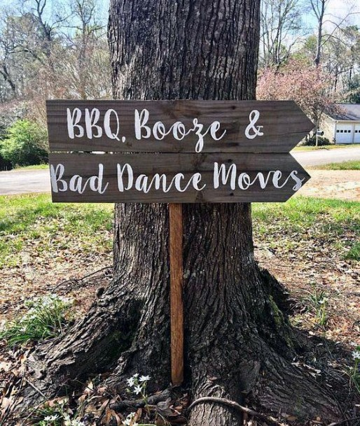 Rustic Wedding Ideas Funny Direction Signs In Wood