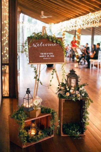 Rustic Wedding Ideas Greenery And Wooden Welcome Sign