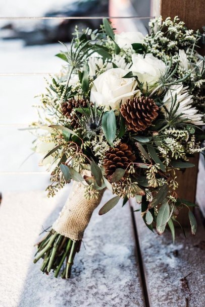 Rustic Wedding Ideas Greenery Bouquet With White Roses And Pine Cones