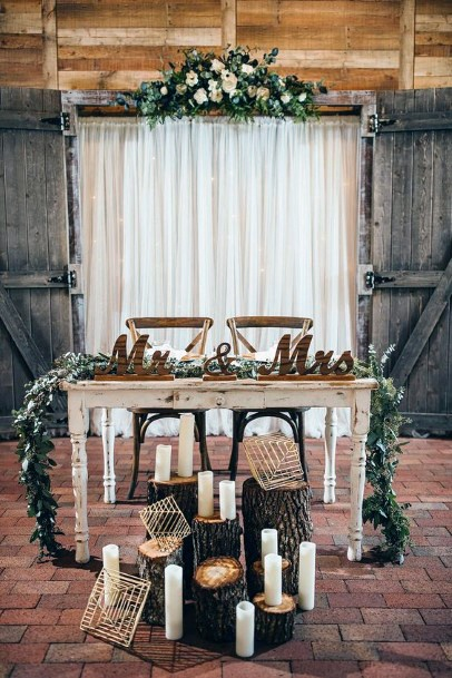 Rustic Wedding Ideas Logs With Greenery Sweetheart Table Decor