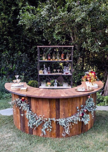 Rustic Wedding Ideas Outdoor Wooden Bar Inspiration