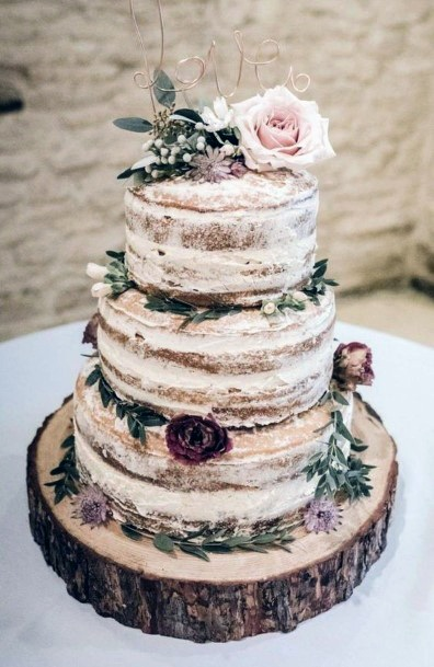 Rustic Wedding Ideas Semi Naked Tiered Cake With Greenery And Florals