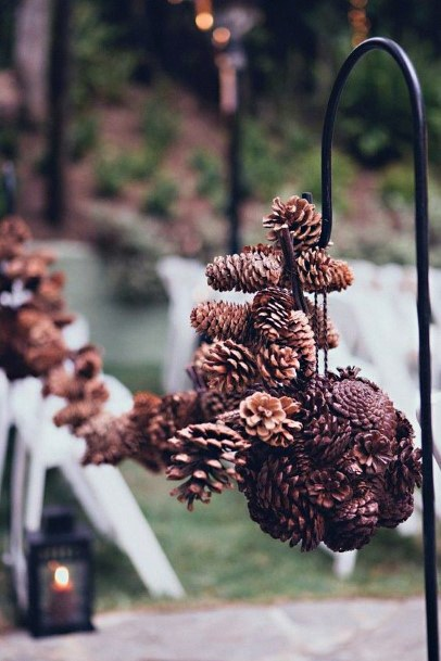Rustic Wedding Ideas Shephards Hook With Pine Cones Aisle Decorations