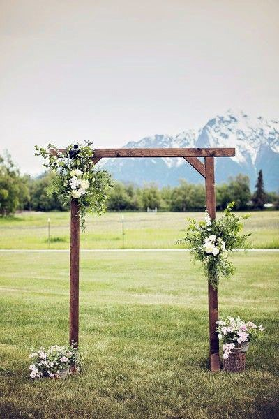 Rustic Wedding Ideas Snowy Mountains Ceremony Backdrop