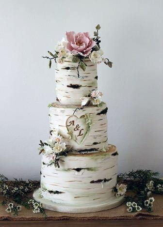 Rustic Wedding Ideas Tree Bark Cake Design With Carved Initials Inspiration