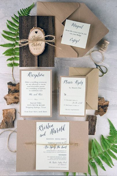 Rustic Wedding Ideas Wood And Nature Invitation Suite Inspiration