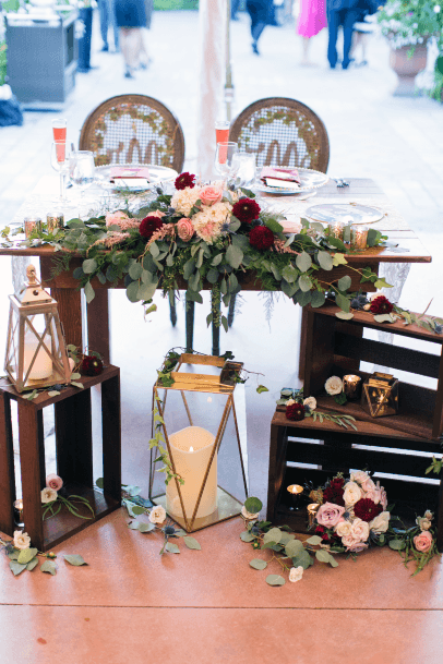 Rustic Wedding Ideas Wooden Boxes With Floral Bouquet Sweetheart Table Decor