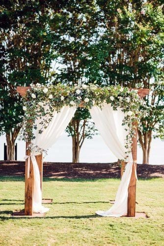 Rustic Wedding Ideas Wooden Ceremony Arch With Elegant White Flowers And Greenery Garland