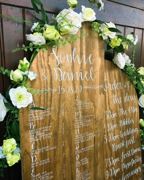 Rustic Wedding Ideas Wooden Seat Sign With White And Green Floral