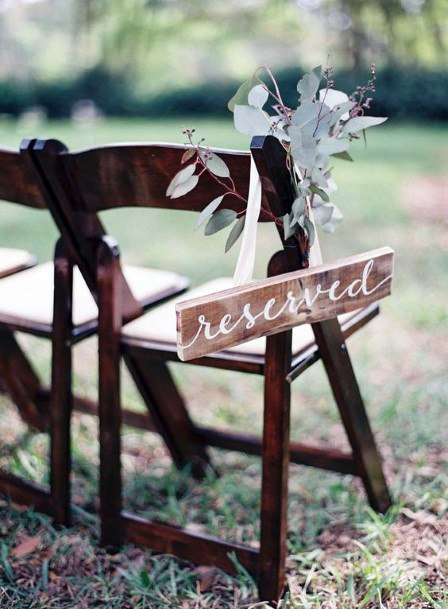 Rustic Wedding Ideas Wooden Signs With Silver Dollar Or Eucalyptus Greenery