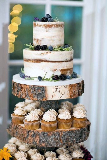 Rustic Wedding Ideas Wooden Slab Cake And Cupcake Stand Inspiration