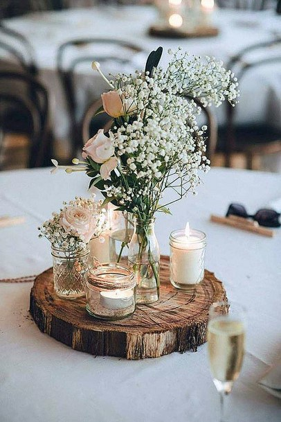 Rustic Wedding Ideas Wooden Slab Centerpiece With Babies Breath Flowers