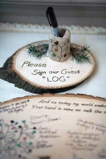 Rustic Wedding Ideas Wooden Slab Guest Book And Sign Inspiration