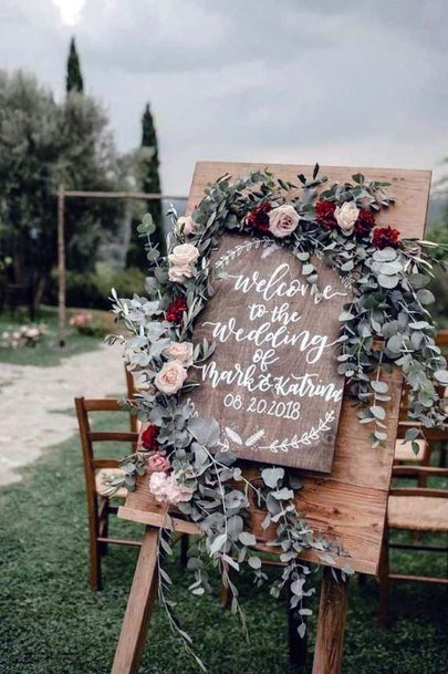 Rustic Wedding Ideas Wooden Welcome Sign Inspiration With Greenery And Floral