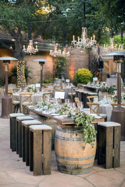 Rustic Wedding Ideas Wooden Wine Barrels Reception Tables