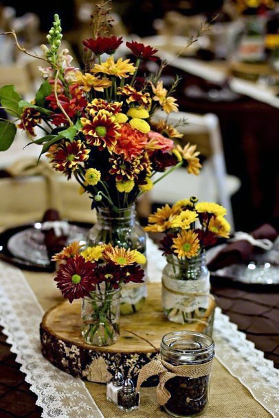 Rustic Wood Slab With Floral Vases Centerpiece Decor Fall Wedding Ideas
