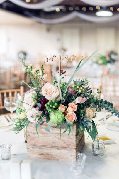 Rustic Wooden Planter With Green Plants Wedding Centerpiece Ideas