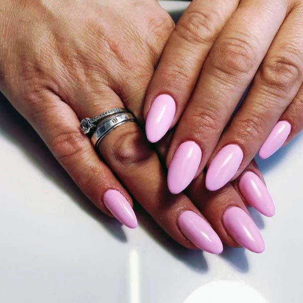 Salmon Pink Almond Shaped Nails