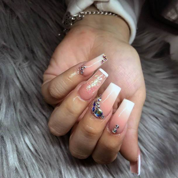 Salmon Pink And White Ombre Nails Women With Diamonds