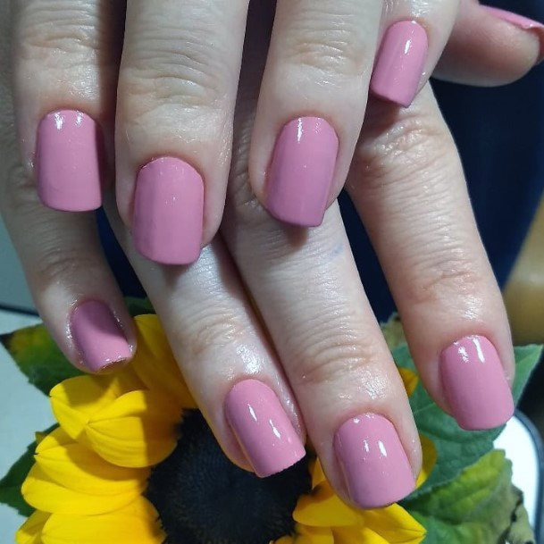 Salmon Pink Polished Nail Charming Idea For Women