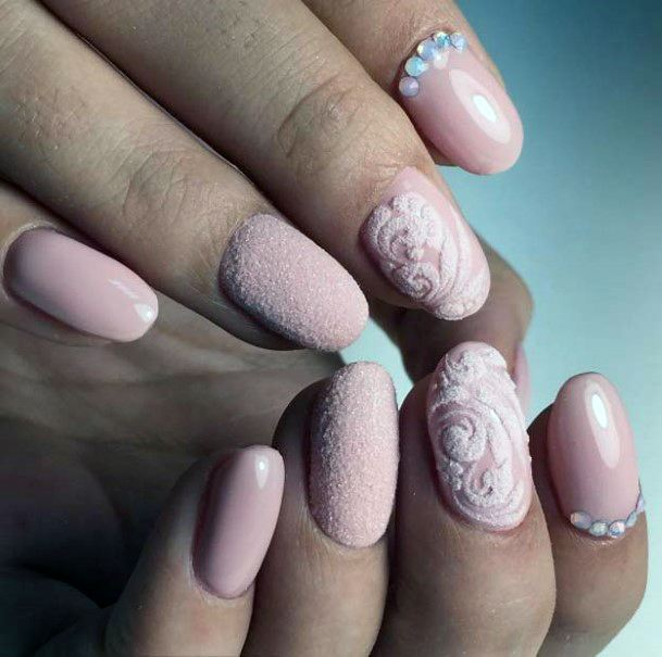 Salmon Pink Sugared Nails For Women