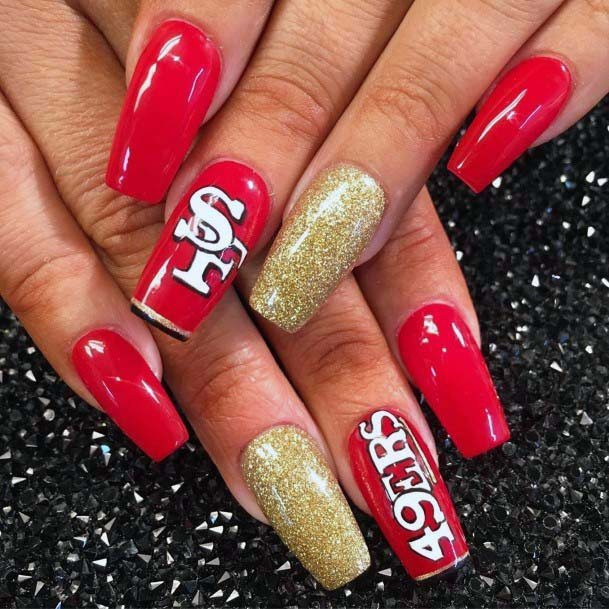 San Francisco 49ers Red Sport Nails With Golden Accent For Women