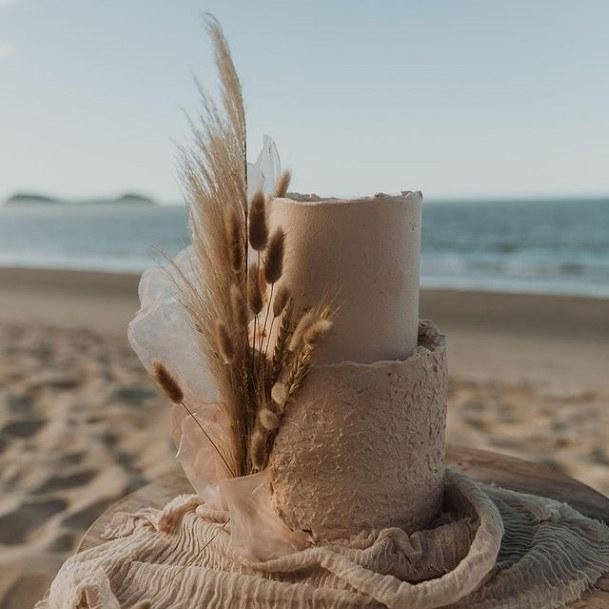 Sandy Beach 2 Tier Wedding Cake