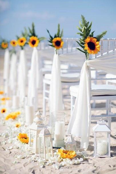 Sandy Beach And Yellow Sunflowers Wedding