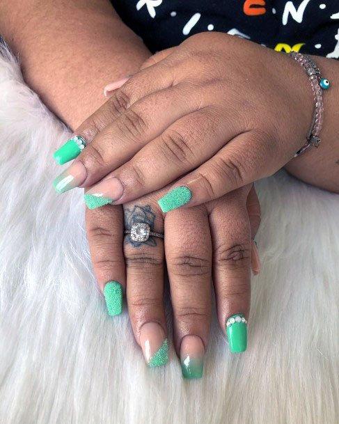 Sandy Mint Nails With Rhinestones Women