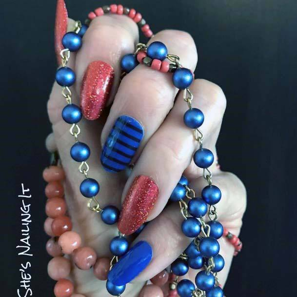 Sandy Orange And Striped Blue Nails For Women