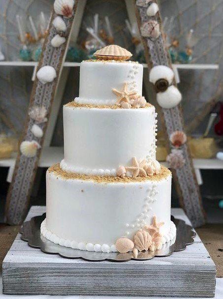Sandy Shells On Beach Wedding Cake Women