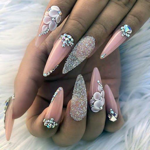 Sandy Silver Nails Peach 3d Flowers Women