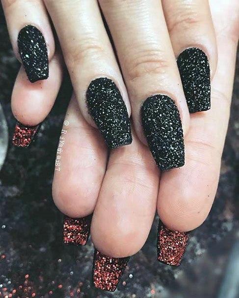 Sandy Sparkles Black Nails Women