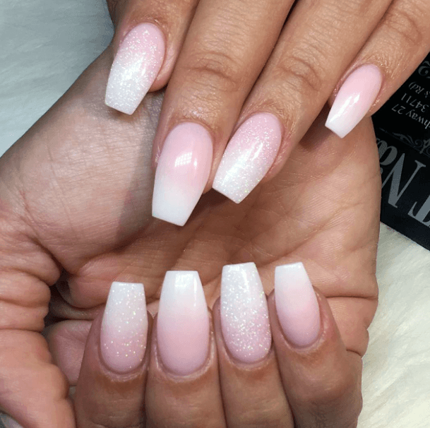 Sandy Sparkles White And Pink Ombre Nails Women