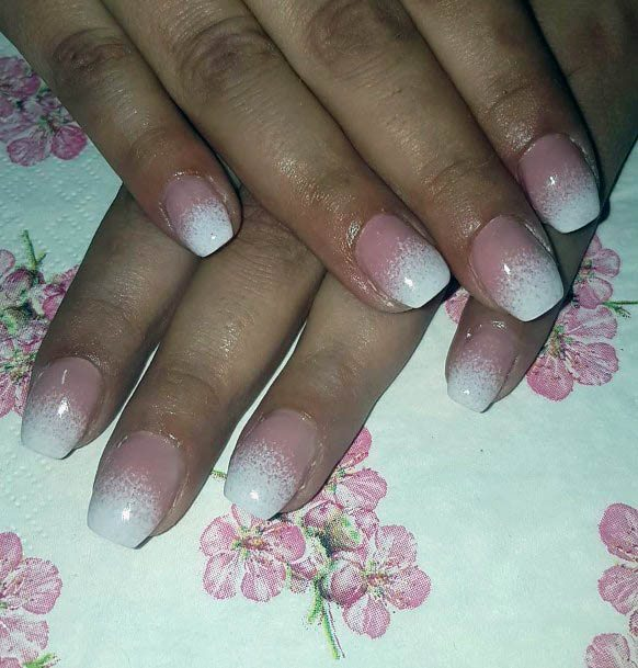 Sandy White Ombre Nails Women