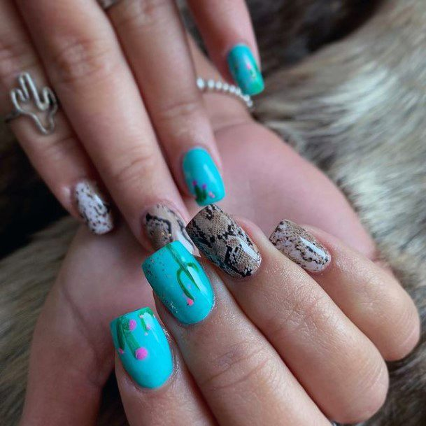 Sapphire Cactus Nails For Women