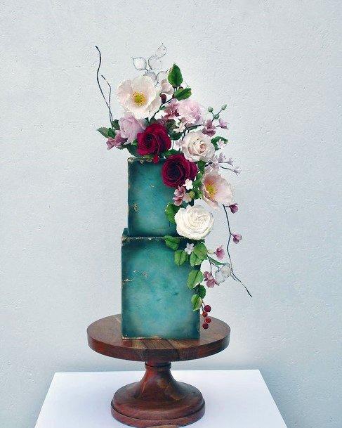 Sapphire Toned Square Wedding Cake