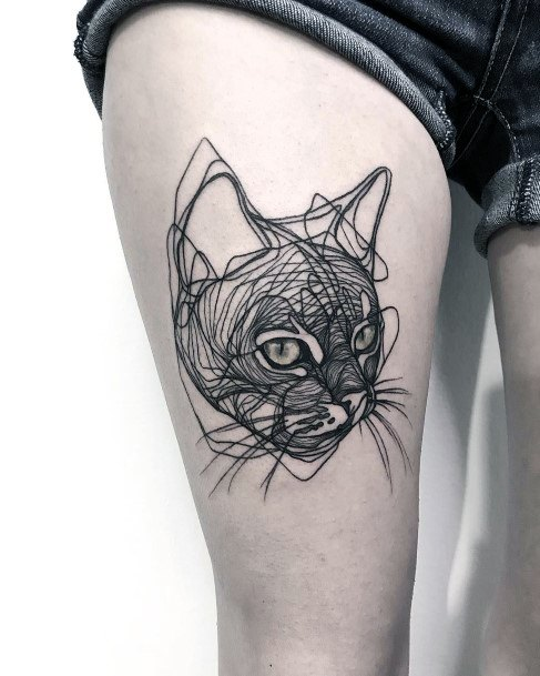 Scribbled Cat Drawing Tattoo Womens Thighs