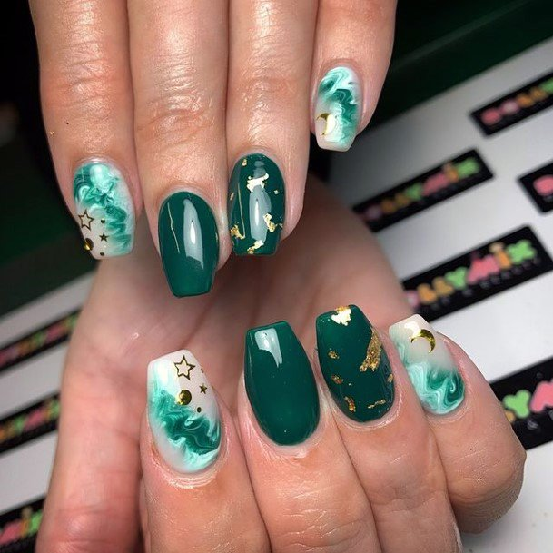 Sea Green Nails For Women With Golden Foil