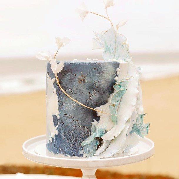 Sea Waves Blue White Wedding Cake