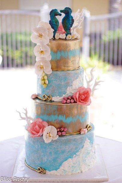 Seahorse Couple Beach Wedding Cake Women
