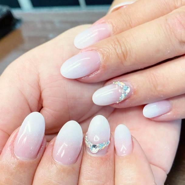 Seashell White Ombre Nails Women