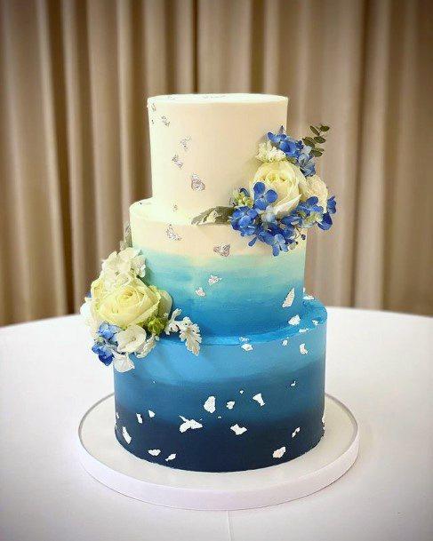 Seaside Wedding Blue Cake