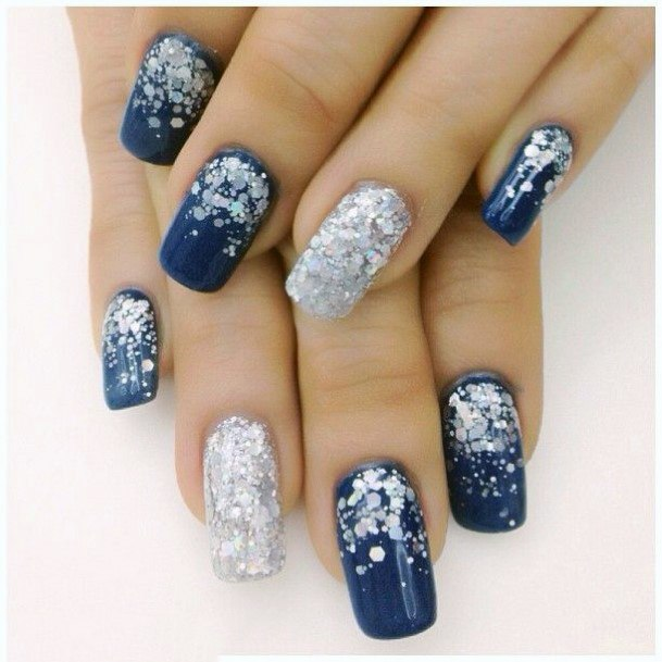 Sequins On Blue Nails Snow Themed For Women