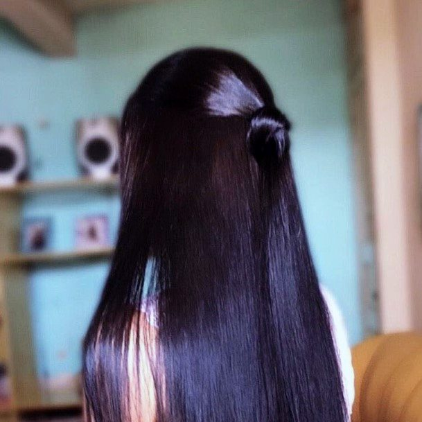 Sexy Glossy Half Bun Womens Long Straight Black Hairstyle