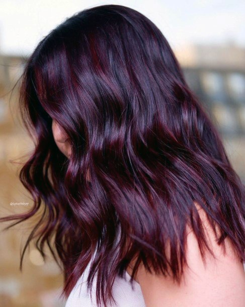 Sexy Mysterious Dark Purple Mid Length Glossy Hair For Women